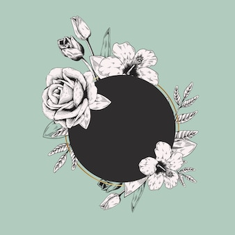 Étiquette florale ronde