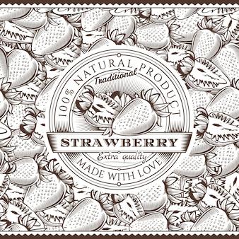 Étiquette de fraise vintage