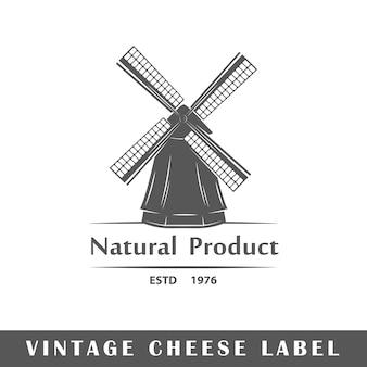 Étiquette de fromage isolée. logo.