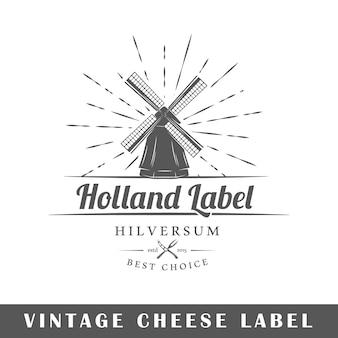 Étiquette de fromage isolée