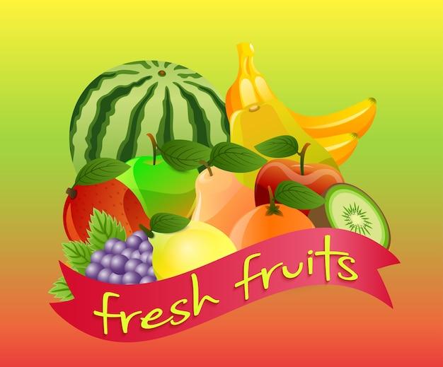 Étiquette avec des fruits sur fond vert
