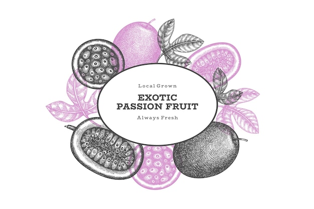 Étiquette de fruits de la passion de style croquis dessinés à la main