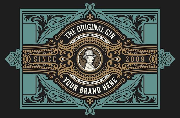 Étiquette de gin vintage. en couches
