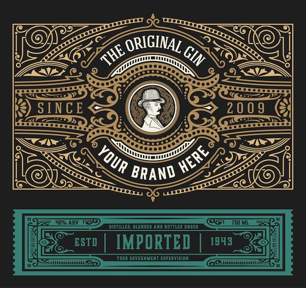 Étiquette De Gin Vintage Avec Ornements Baroques Vecteur Premium