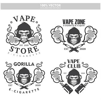 Étiquette de gorille tête vapeur e-cigarette vaporisateur vaporisateur vaporisateur cigarette vaporisateur électrique électronique fumée vaping étiquette ensemble logo de style vintage.