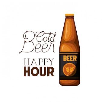 Étiquette happy hour bière froide avec l'icône de la bouteille