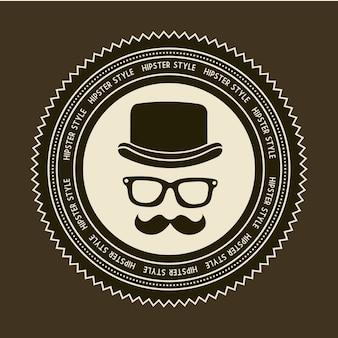 Étiquette hipster sur fond marron vieux style vecteur