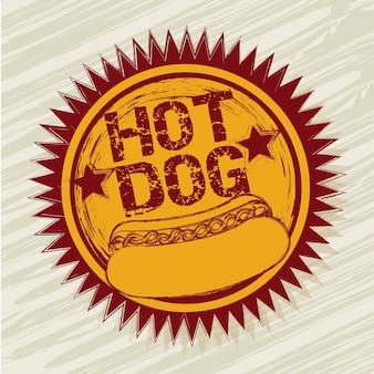 Étiquette de hot-dog au cours de l'illustration vectorielle sur fond beige