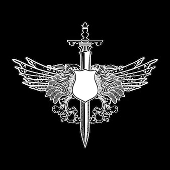 Étiquette d'illustration d'ailes d'épée