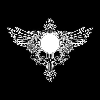 Étiquette d'illustration de cross wings