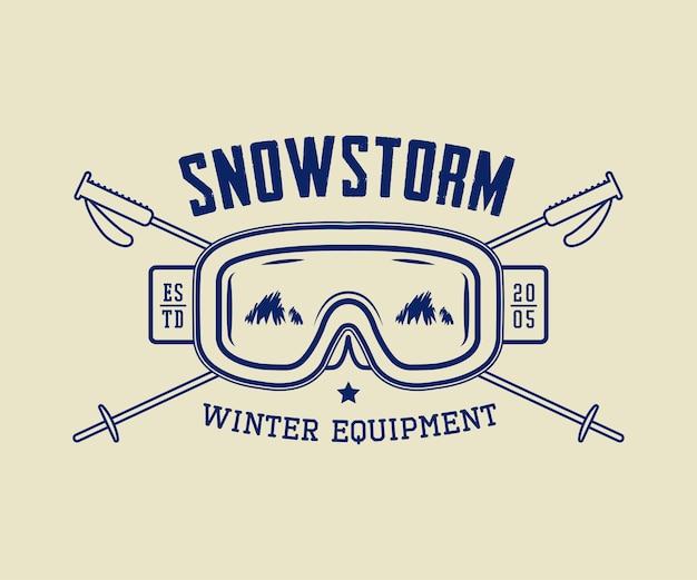 Étiquette d'insigne d'emblème de logo de sport d'hiver ou d'équipement d'hiver vintage et filigrane avec masque