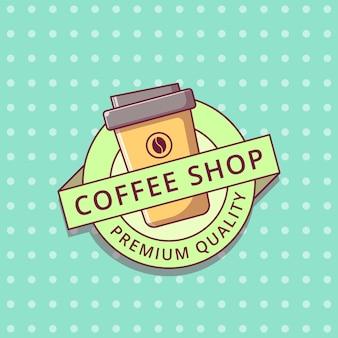 Étiquette d'insigne plat de logo de dessin animé de café.