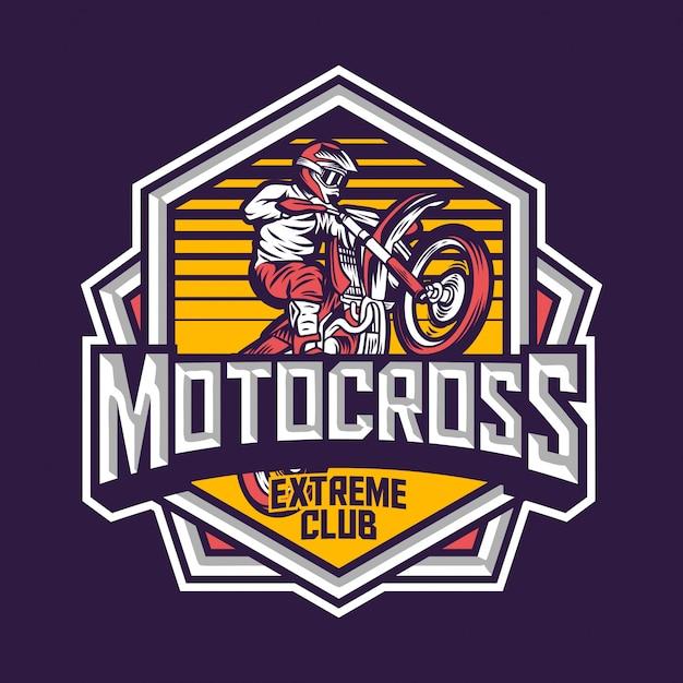 Étiquette d'insigne de sport extrême de motocross
