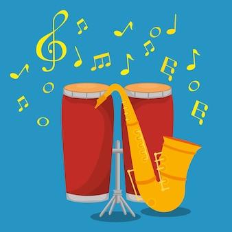 Étiquette d'instruments de musique bongos et saxophone