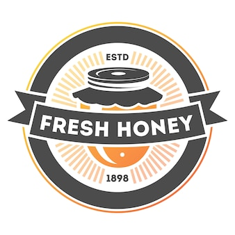Étiquette isolé vintage de miel frais