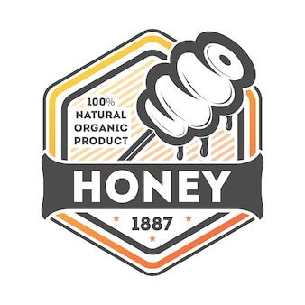 Étiquette isolée vintage de miel naturel