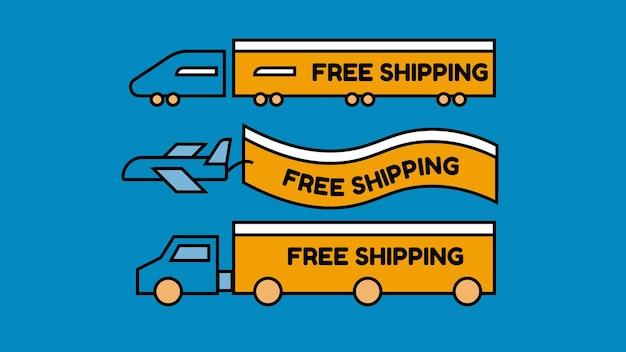 Étiquette de livraison gratuite dans différents objets de transport