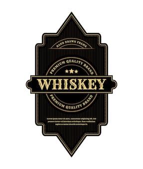 Étiquette de logo de cadres d'emballage de luxe vintage pour bouteille d'alcool et de boissons de whisky de bière