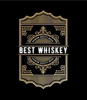 Étiquette de logo de cadres de luxe royal vintage pour étiquettes de bouteilles d'alcool et de boissons de whisky