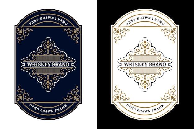 Étiquette de logo de cadres de luxe royal vintage