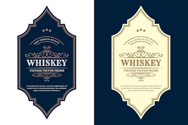 Étiquette de logo de cadres de luxe vintage pour étiquettes de bouteille d'alcool et de boissons de whisky de bière premium