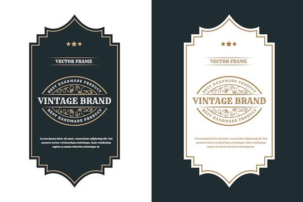 Étiquette de logo de cadres de luxe vintage pour les étiquettes de bouteille d'alcool et de boissons de whisky de bière