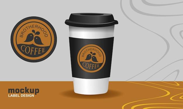 Étiquette logo tasse à café 3d