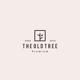 Étiquette logo vintage hipster logo arbre
