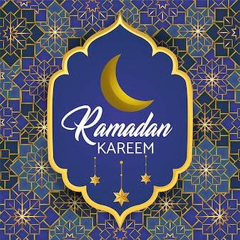 Étiquette avec lune et étoiles au ramadan kareem