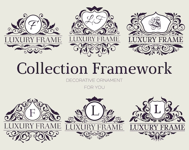 Étiquette de luxe ou élément de symbole king place avec ensemble d'objets de calligraphie décorative