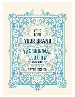 Étiquette de luxe pour emballage de liqueur de gin avec des ornements vintage
