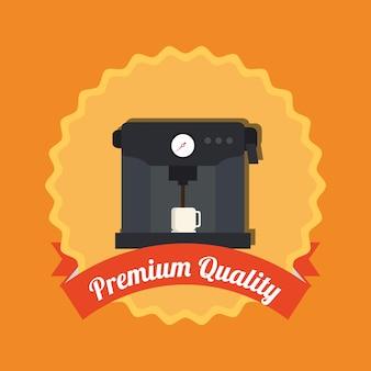 Étiquette de machine à café de qualité premiun