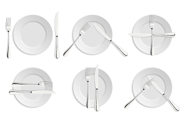 L'étiquette à manger, les fourchettes et les signaux de couteaux.