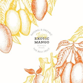 Étiquette de mangue exotique juteuse