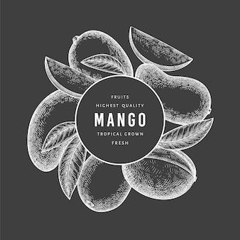 Étiquette de mangue de style croquis dessinés à la main. fruits frais biologiques sur tableau noir. fruit de mangue rétro