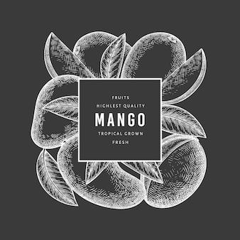 Étiquette de mangue de style croquis dessinés à la main