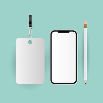 Étiquette de maquette smartphone et conception de crayon du modèle d'identité d'entreprise et du thème de marque