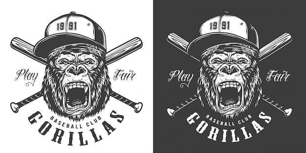 Étiquette de mascotte de club de baseball