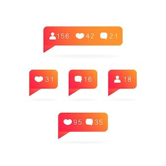 Étiquette de médias sociaux avec likes