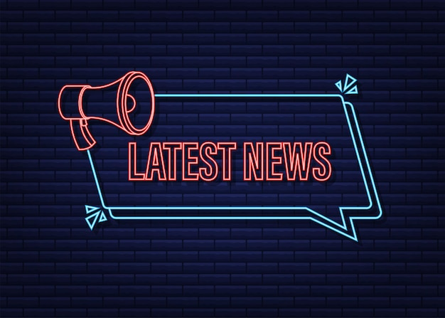Étiquette de mégaphone avec les dernières nouvelles icône de néon bannière de mégaphone conception de sites web