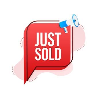 Étiquette mégaphone vient de vendre sur fond blanc. illustration vectorielle.