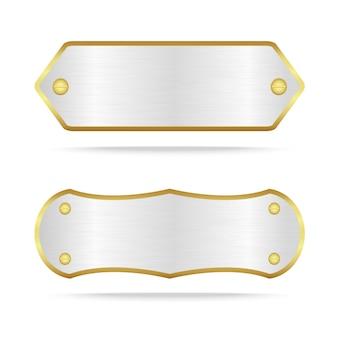 Étiquette en métal argenté avec vis