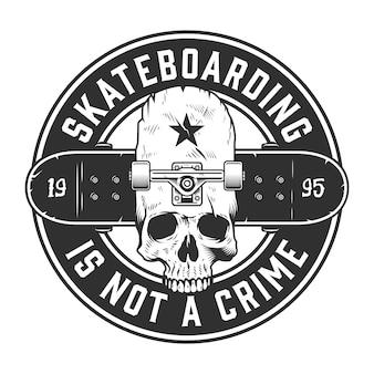 Étiquette monochrome de skateboard vintage