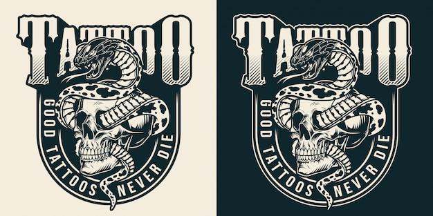Étiquette monochrome de studio de tatouage vintage
