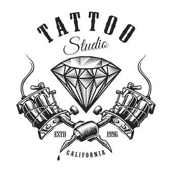 Étiquette monochrome de tatouage vintage