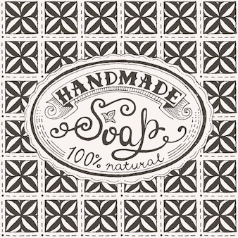 Étiquette et motif dessinés à la main pour un pain de savon fait main