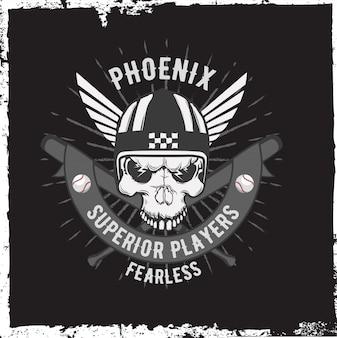 Étiquette de moto avec crâne dessiné à la main et un casque, ailes.