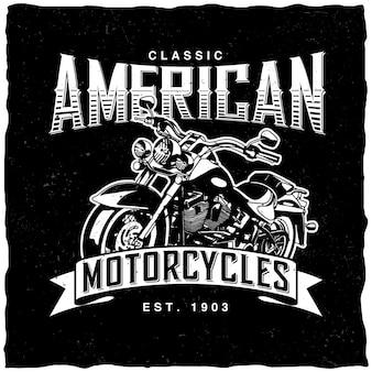 Étiquette de motos américaines classiques
