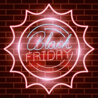 Étiquette de néon circulaire de vendredi noir