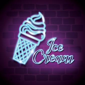 Étiquette de néon crème glacée